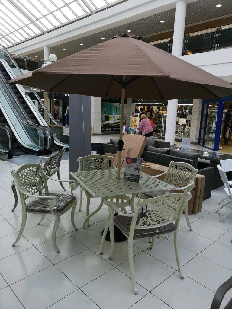 Garden furniture 4 seater cast aluminium table and chairs