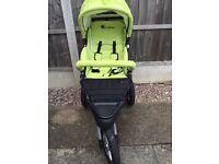 Bambini Green 3 Wheel Baby Stroller Pushchair Pram