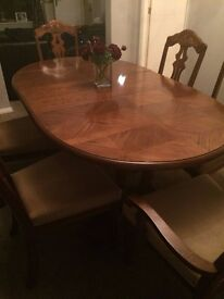 Dining Table & 6 Chairs for sale, mint condition, oak, no scratches table 109 cm x 50 cm
