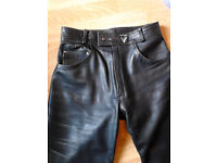 leather jeans, frank thomas 32w,35ins leg