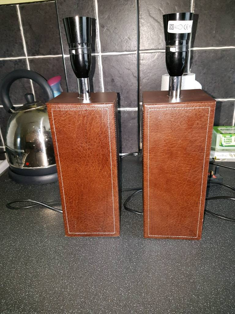 Large brown leather lamps