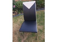 Black and Cream faux leather finning chairs X 4