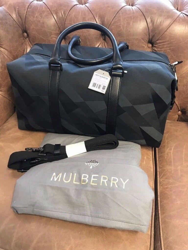MULBERRY Blue Camo Dazzle Small Clipper Holdall Bag NEW  65e665c686e5d