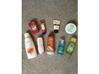 Avon bath and body bundle hair mask shampoo shower gel hand cream bath petals argan body wash