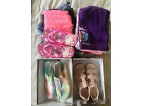 Bundle of Girls Clothes, Shoes Size 1 and 8-9 year- 22 Items