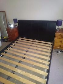 Double black leather bed frame