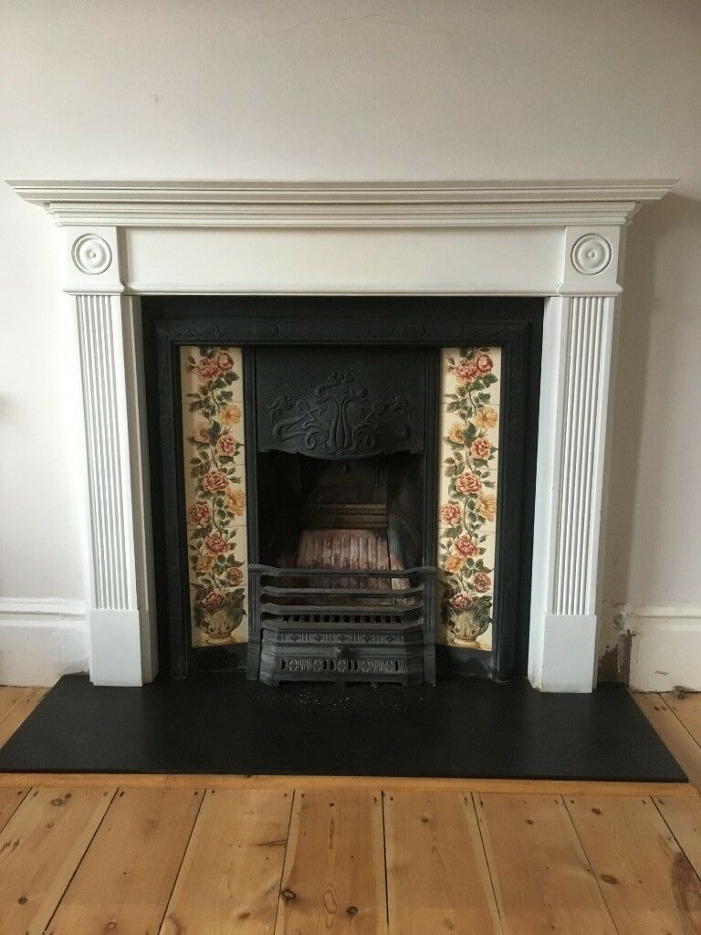 Pretty Victorian Style Tiled Fireplace Surround And Slate Hearth In