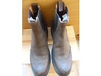 Chelsea Brogue Boots-Rubber Sole. Size 9- 1/2