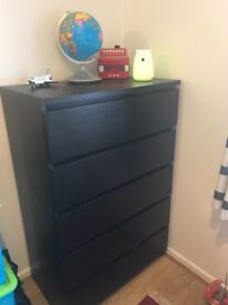 Ikea chest of 6 drawers, excellent condition, black brown colour