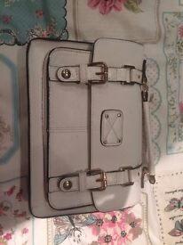 Accessorize Small White Saddle Bag - With Detachable Handle