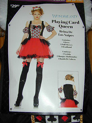 HALLOWEEN COSTUME:Queen Of Hearts Wonderland Woman XL Dress Sleeve Crown Cosplay](Crown Queen Of Hearts)
