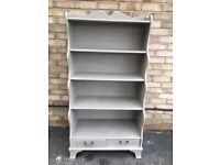 BOOK CASE SHELVES SHELVING GRADUATED STORAGE PAINTED FRENCH GREY WITH DRAWERS