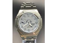 Casio G-SHOCK GA-2100-ET-8AER-Metal Casioak Mod- Grey Dial Silver Bracelet