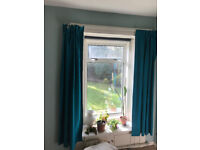 Teal green/blue curtains