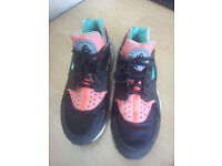 Nike Huarache Size 8 Trainers - pink, mint, black & white - v good condition