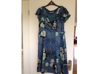 Monsoon flower print teal dress in size 14, suitable for weddings and special occasions