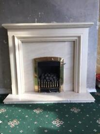 Marble Fire Surround & Gas Fire