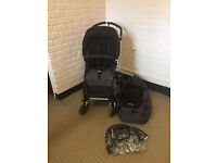 Bugaboo Cameleon II Black with Carrycot and rain cover