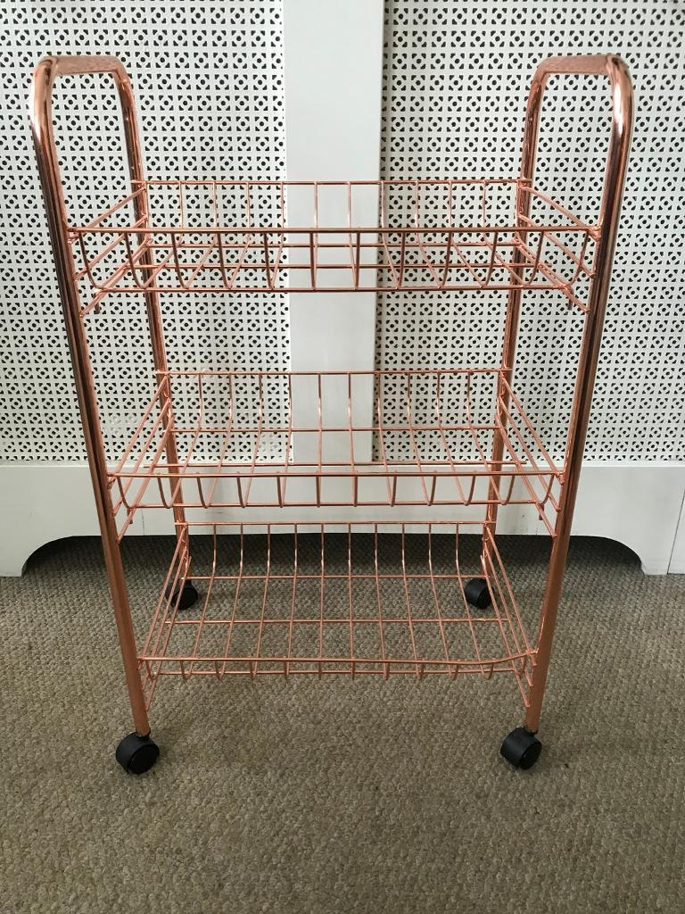 Dunelm Mill Copper Rose Gold 3 Tier Storage Trolley In