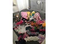 Bundle of build a bear teddys and accessories