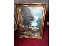 Constable painting print in gold frame