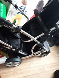 Twin pram with 2 car seats