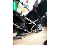 Twin pram with 2 car seats