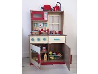 Children's Wooden Kitchen, Kettle, Toaster and Food