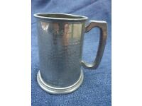 Hammered Pewter Tankard, engraved, with glass base