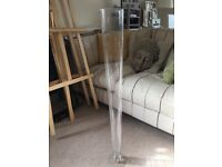 2 x large conical floor vases