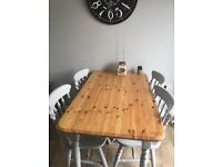 French grey professionally painted and waxed top table and chairs