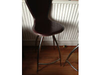 2 good quality leather seat swivel top bar stools with chrome legs - The Chair Company