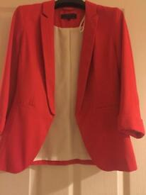 New look orange red smart jacket blazer size 8