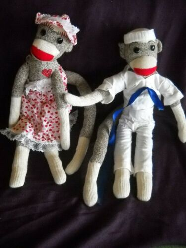 "PAIR of 2 Handmade Sock Monkey Dolls 21"" dressed with hats Sailor & lady signed"