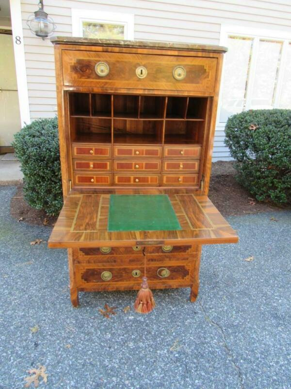HIGH QUALITY ANTIQUE c1890 FRENCH ABBATANT DESK, SATINWOOD INLAY