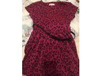 Pink leopard print girls dress