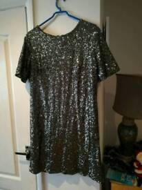 Ladies silver sequined dress