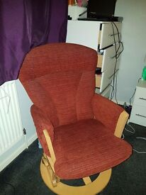 Recling glider chair and footstool
