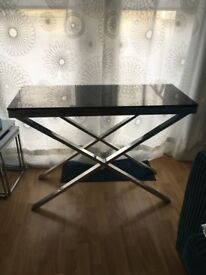 Console Table solid dark glass and chrome