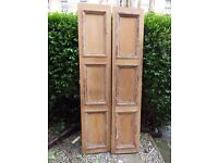 2 Antique Vintage Reclaimed Stripped Pine French Double Doors