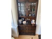 Ercol solid wood display cabinet two piece
