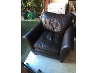 Brown leather chair. FREE to collect.