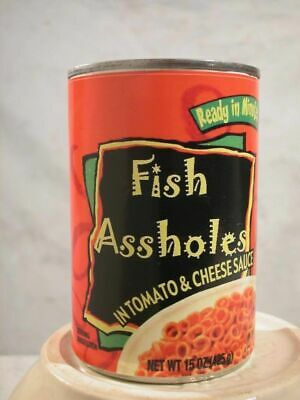 Gag Label - Canned Fish Ass Holes - Funny Christmas Stocking Stuffer Gag Gift !!