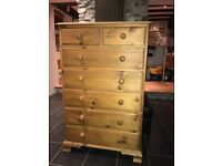 Large, solid-wood chest of drawers. Good condition. Ideal storage solution for a bedroom.