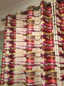1 pair of lined handmade curtains with eyelet headings