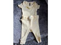 2x river island baby outfits in lemon and mint 3-6m