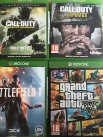 Xbox one games cod ww2,cod4,cod infinite warfare,battlefield 1 and forza horizon 3