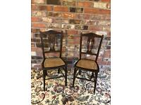 £25 each- 1 left now- Vintage Edwardian solid oak wood bedroom hall dining wood chairs £50 for both