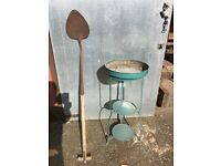 1900s Metal Wash Stand/Plant Stand and 19thC Peat Spade