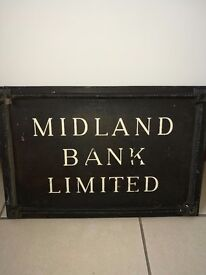 5 antique signs 3 tin 1 brass 1 iron midland bank limited